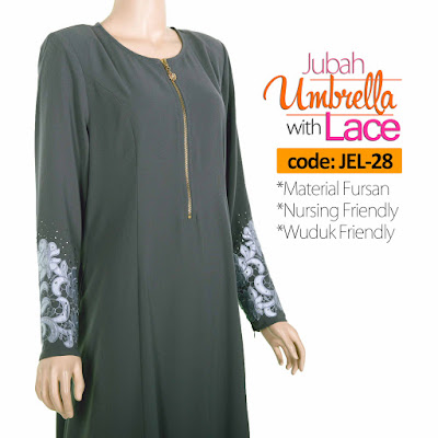Jubah Umbrella Lace JEL-28 Grey Tepi 2