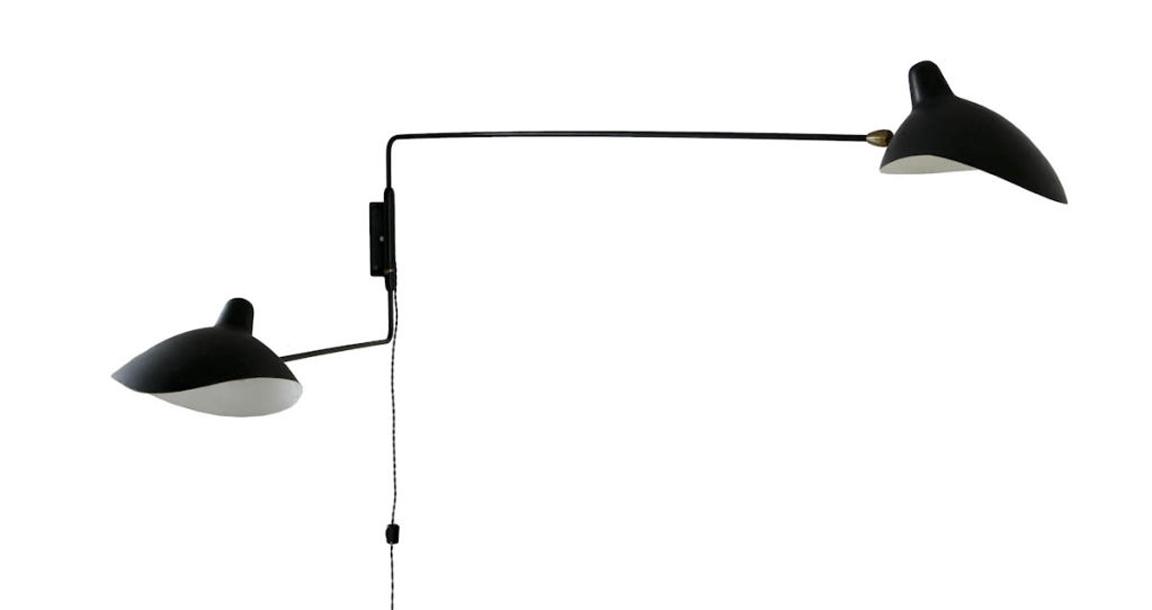 BLACK. WHITE. YELLOW. Serge Mouille Two Arm Wall Lamp