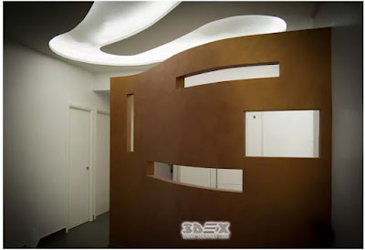 streamlined gypsum board design for wall and false ceiling with LED lighting