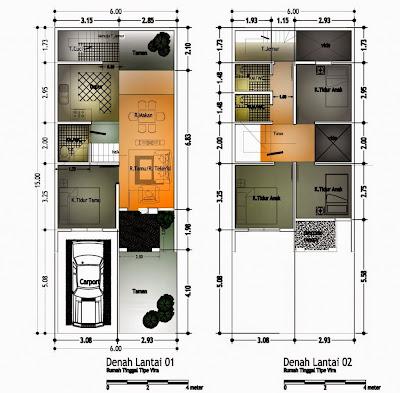 Contoh Denah Rumah Minimalis Sederhana 2 Lantai
