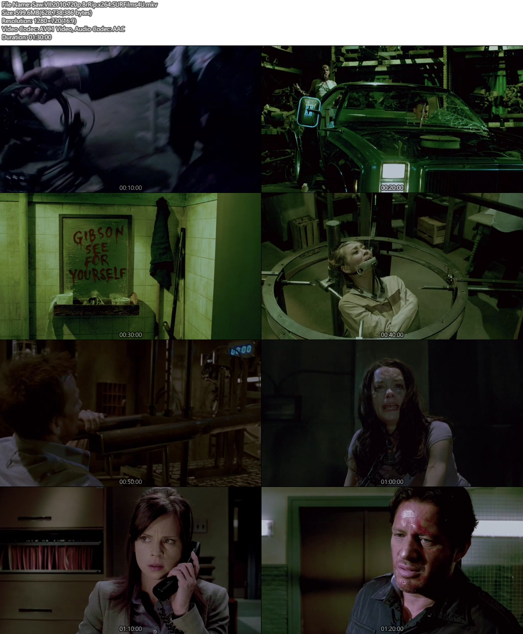 Saw VII 2010 720p BluRip 600MB x264 Screenshot