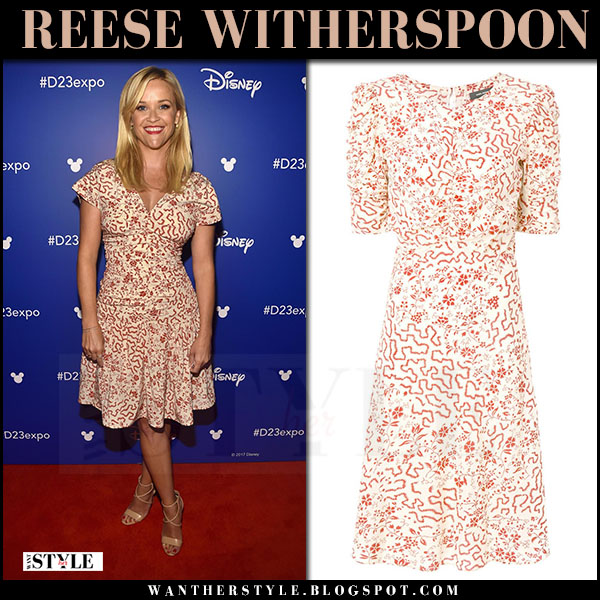 Reese Witherspoon in white and red printed flared dress isabel marant gresham disney red capret july 15 2017 celebrity style