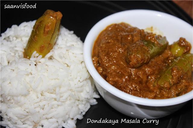 Dondakaya Masala Kura/Tindora(Ivy Gourd) Masala Curry