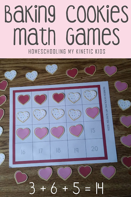 Cookie Baking Addition Games // Homeschooling My Kinetic Kids // number sense, addition, subtraction, adding 3 numbers, 10-frame math, 20-frame math, multiplication, division, elementary math, kindergarten math, pretend play disguised as learning