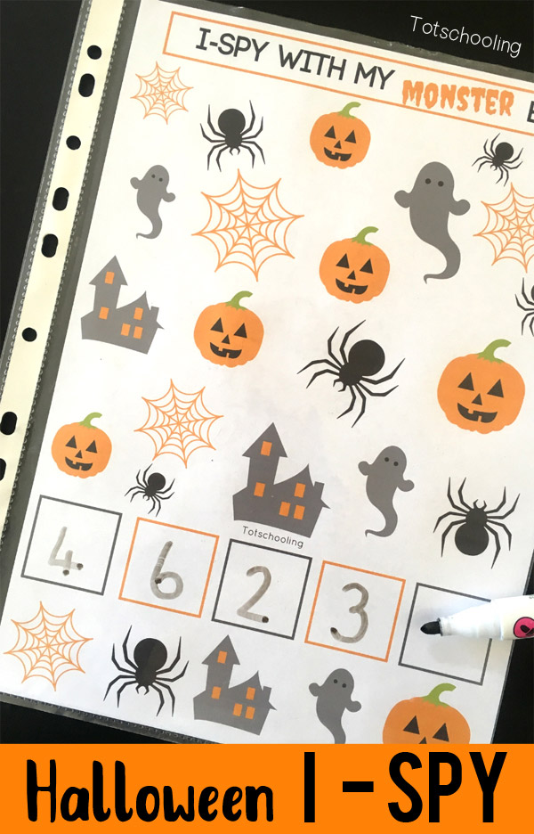 FREE Halloween themed I spy printable game that is perfect for toddlers and preschoolers. Easy to turn into a sensory bin for even more educational fun!