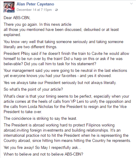 Sen. Cayetano Slammed ABS-CBN's Article: 'When to believe and not to believe ABS-CBN?