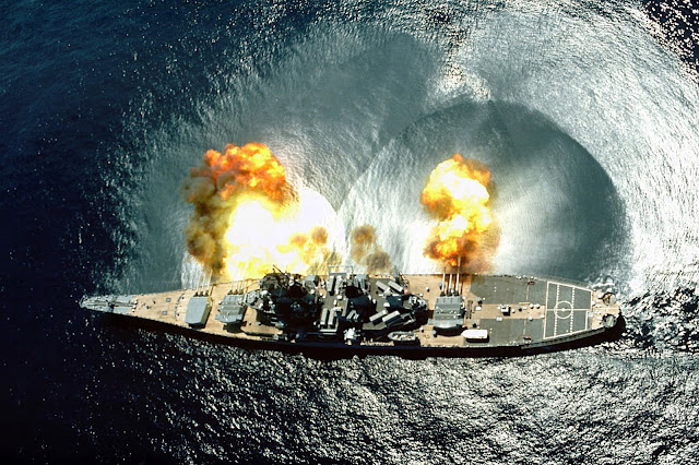 USS Iowa firing a broadside like a badass