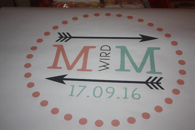 Hochzeitslogo von der Agentur Glückskonzepte, Hochzeitsmotto aus M wird M, Pastell und Vintage im Riessersee Hotel Garmisch-Partenkirchen, Bayern