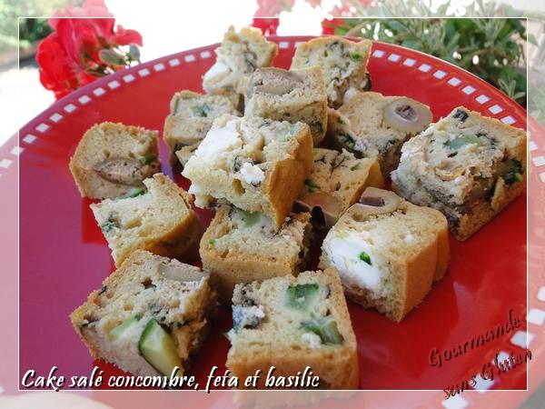 Cake salé concombre feta et basilic, sans gluten