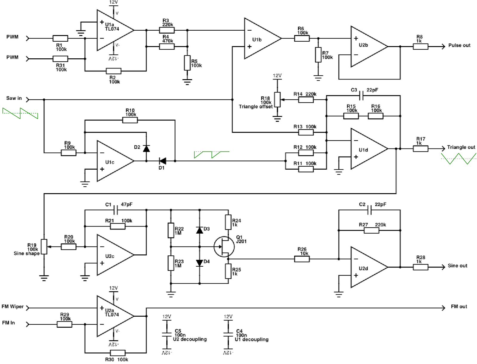 complete vco schematic created in ltspice