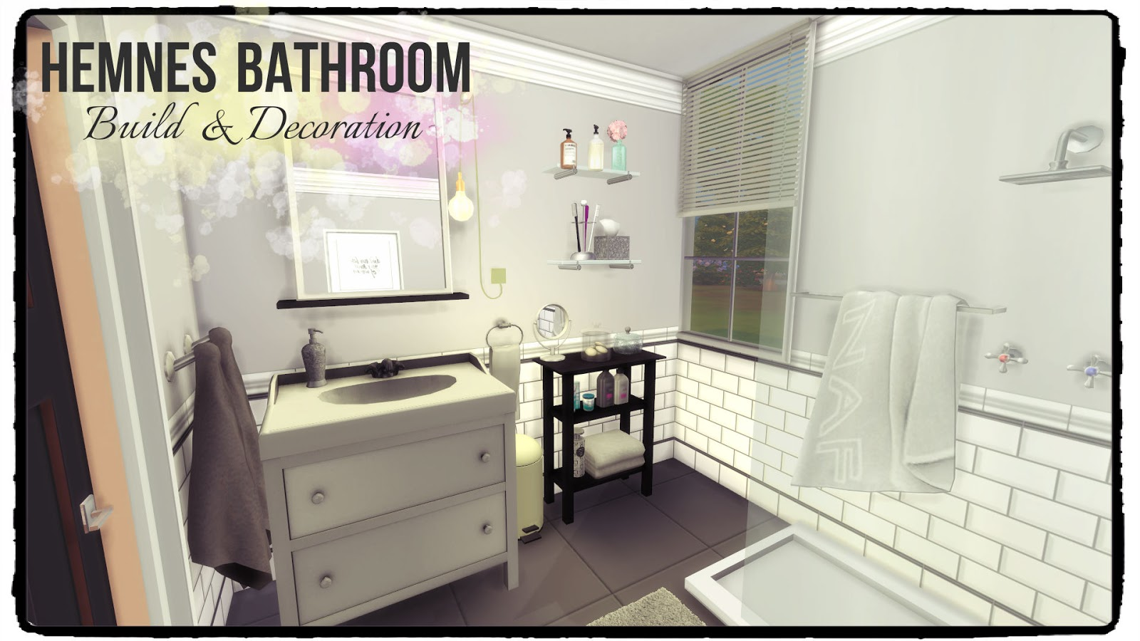 This mansion for a celebrity family, features 5 bedrooms, 7 bathrooms, garden, pool, and garage 1st floor: Sims 4 - Hemnes Bathroom - Dinha
