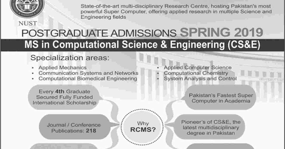 NUST Admissions Open for Postgraduate Program Spring 2019 - Computer