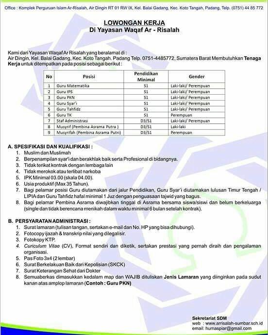 Lowongan Kerja di Padang – Yayasan Waqaf Ar Risalah (Oktober 2017)