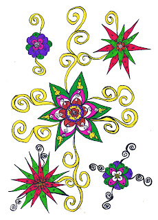 Ethnic Flower, Drawing Art