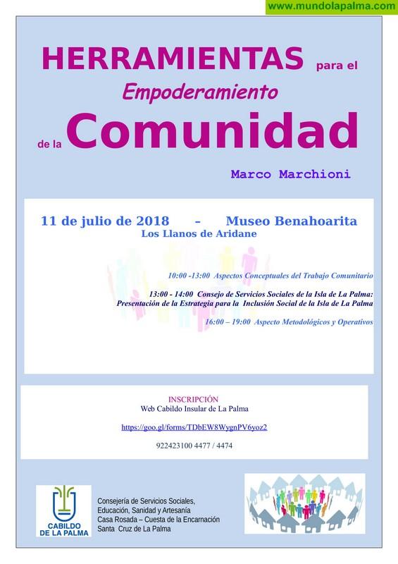 El Cabildo formará a personal técnico en intervención comunitaria con el reconocido experto Marco Marchioni