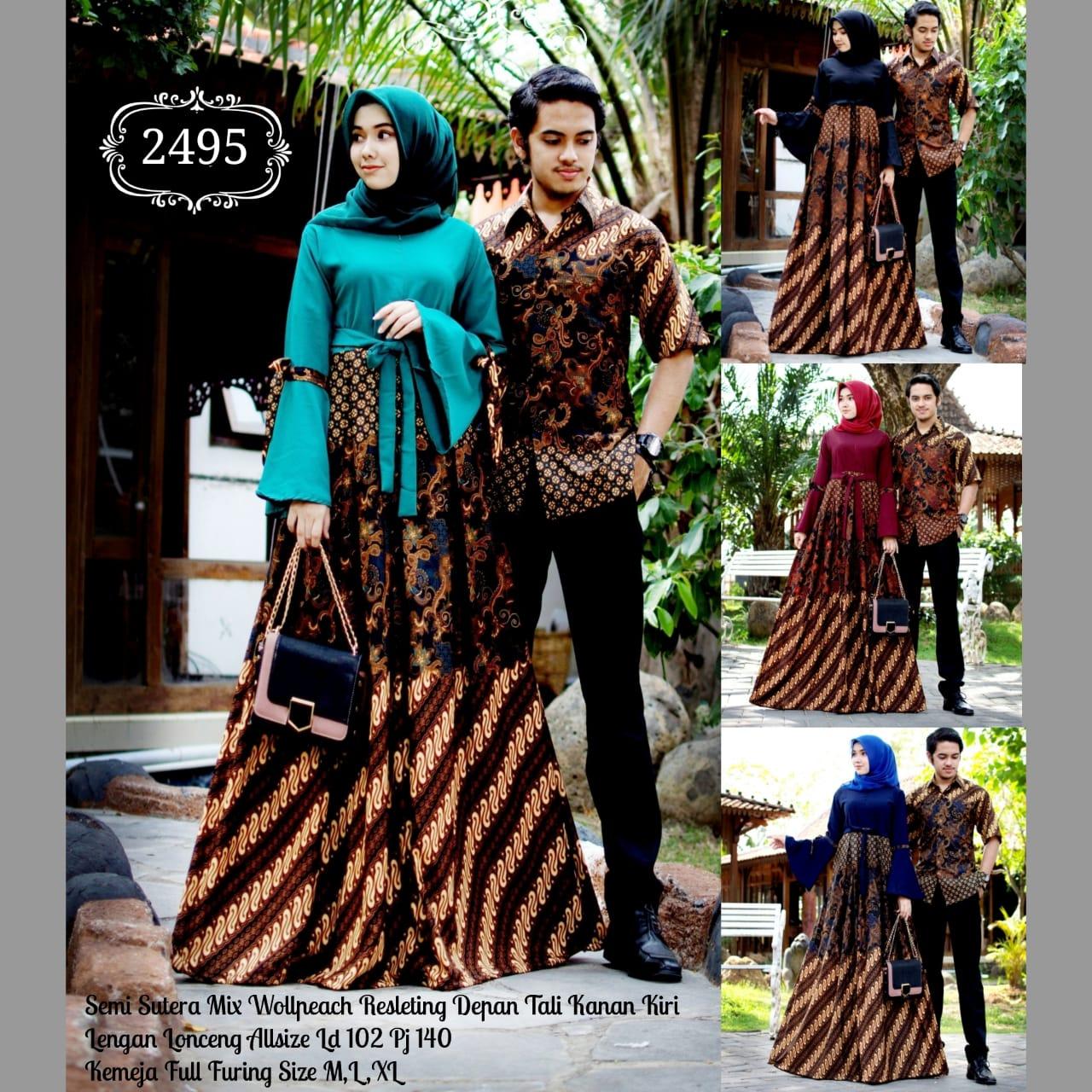 Baju Batik Couple Model Gamis Semi Sutera Mix Wollpeach Lengan