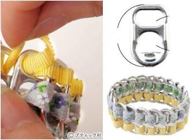 Brazalete anillas de latas con 2 cintas diferentes