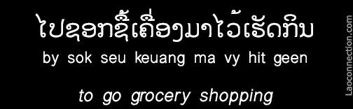 Lao Phrase of the Day:  To Go Grocery Shopping - written in Lao and English