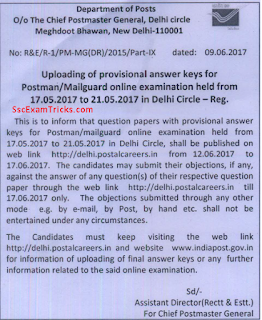 Delhi Postal Circle Answer Keys notice