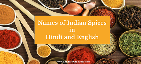 List / Names of Indian Spices in Hindi and English