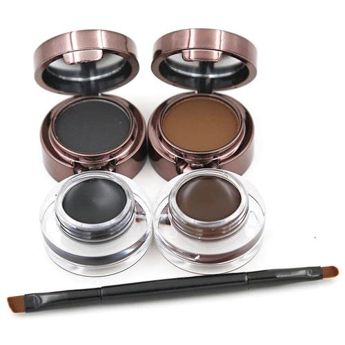 Pomada para cejas marrón y gris con pinceles