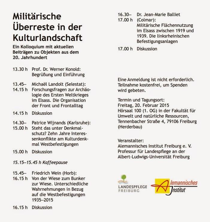 Militärische Überreste in der Kulturlandschaft [20 février 2015]