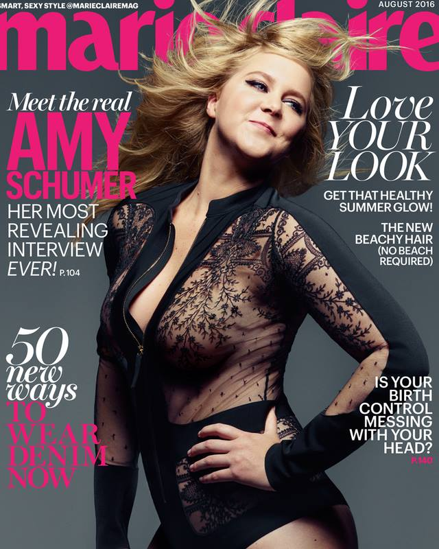 Amy Schumer wears sheer bodysuit for Marie Claire August 2016