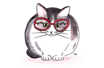 Cat wearing glasses by Yukié Matsushita