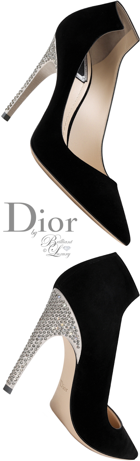 Brilliant Luxury ♦ Dior black suede calfskin pump