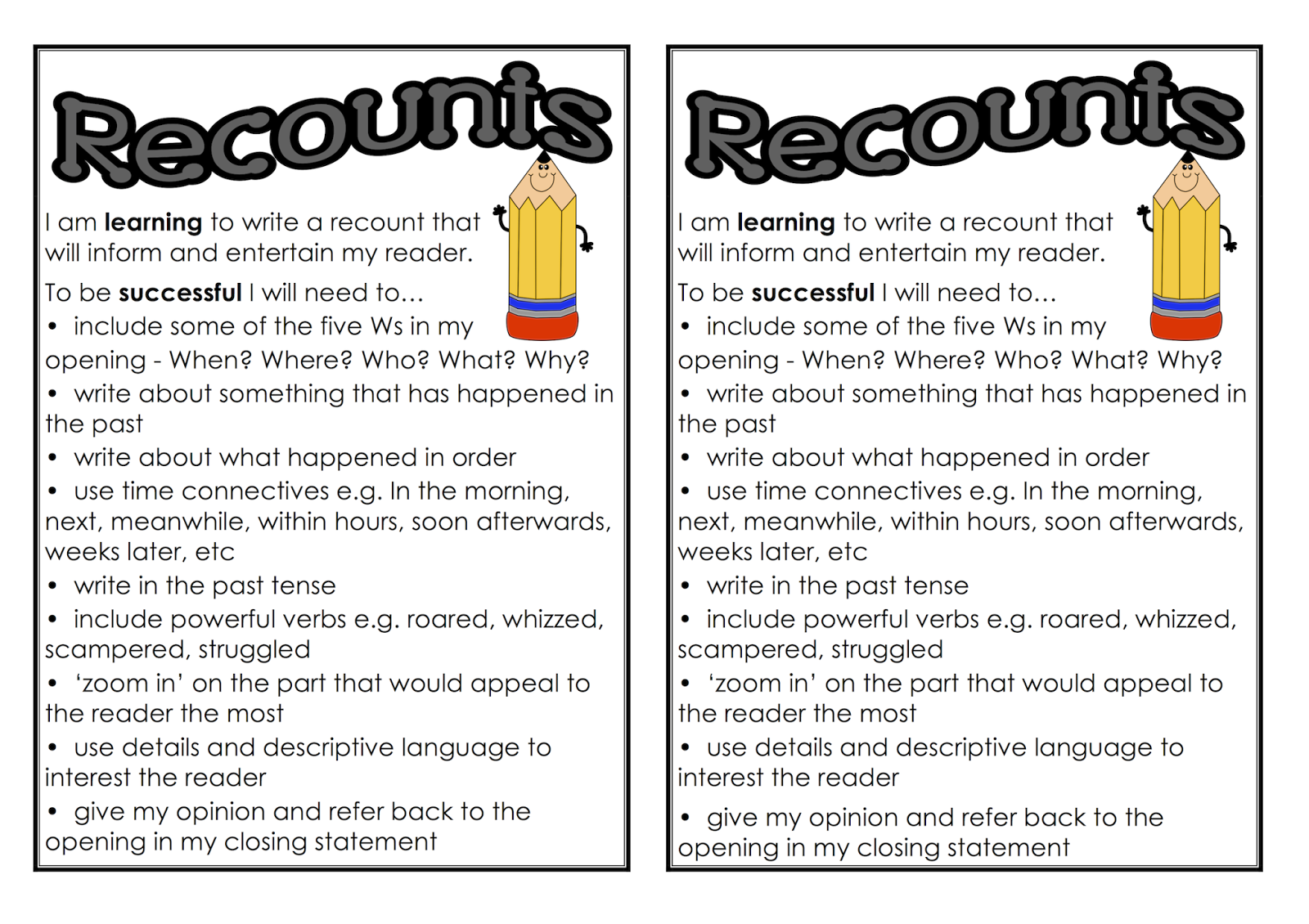 Classroom Treasures Recount Writing