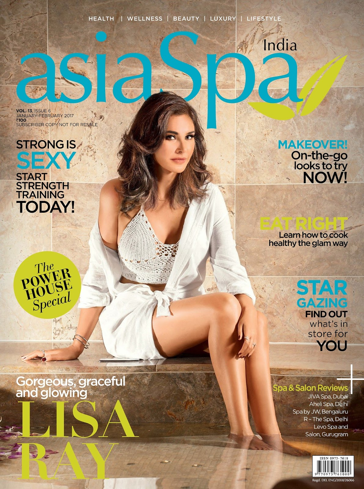 Lisa Ray Looks cute Stunning for Asia Spa India Magazine Jan February 2017 Issue