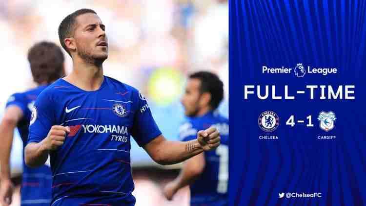 Hasil Chelsea vs Cardiff City Skor Akhir 4-1 [Premier League 2018]