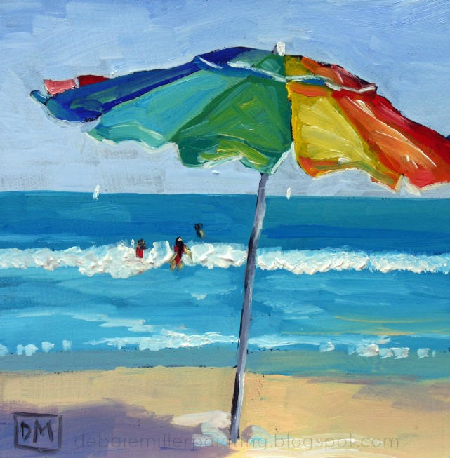 beach umbrella, beach painting, daily painting beach scene