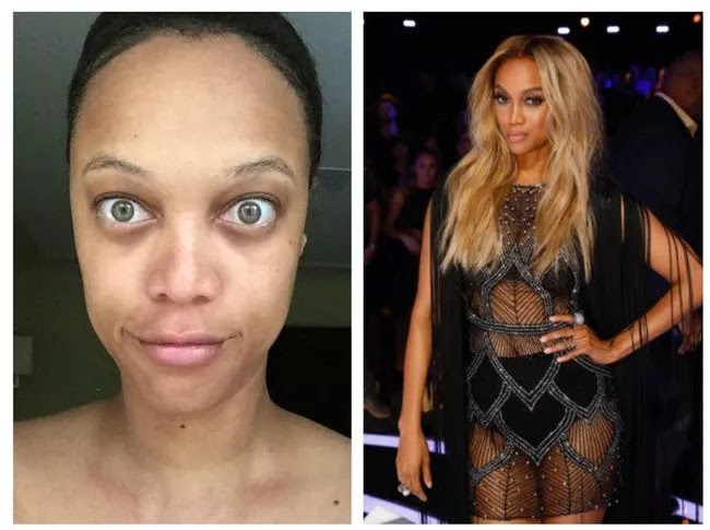 24 Pictures Of Famous Women With And Without Makeup - Tyra Banks