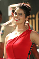 Meenakshi Dixit in Red One Shoulder Red Zipped up gown at IIFA Utsavam Awards017.JPG