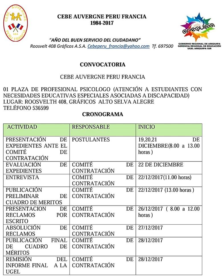 Convocatoria para plaza de psic logo cebe auvergne peru for Convocatoria de plazas docentes 2017