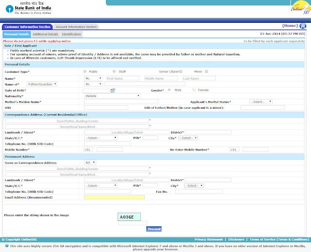 Create SBI new Account Application