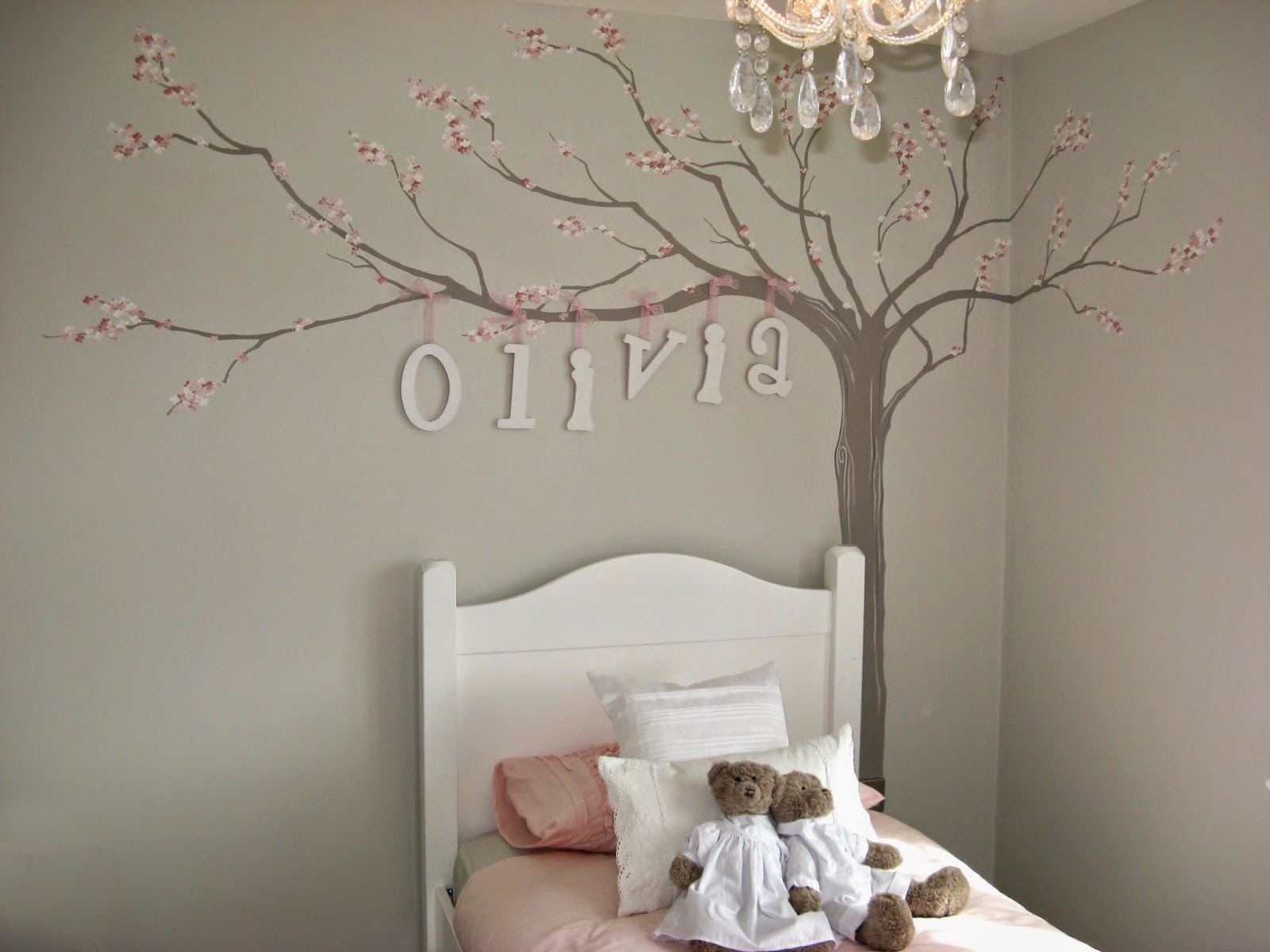 I Hand Painted A Blossom Using Soft Tones Painting The Tree In Corner To Stretch Over Bed And Then Wooden Letters With