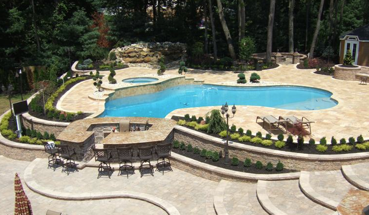 Concrete Patio With Pavers And Pool
