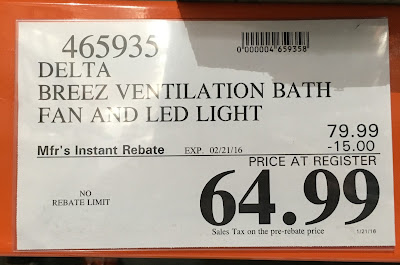 Deal for the Delta Breez VFB80HLED2 Ventilation Fan and light at Costco
