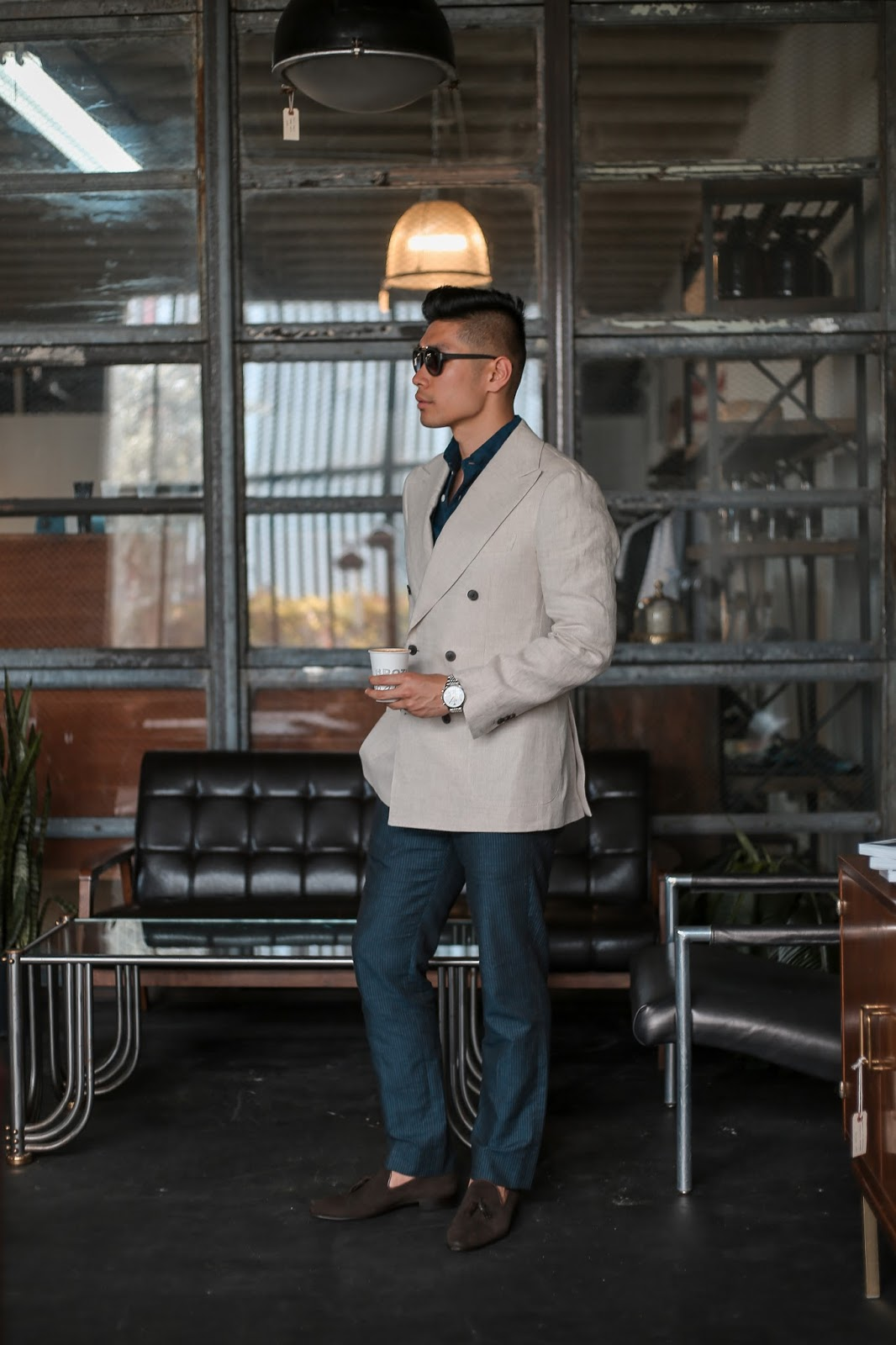 Men's Summer Style, Persol Sunglasses, Paul Evans Loafers, and Bonobos Suit