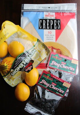 Melissa's premade crepes, meyer lemons and dried bing cherries
