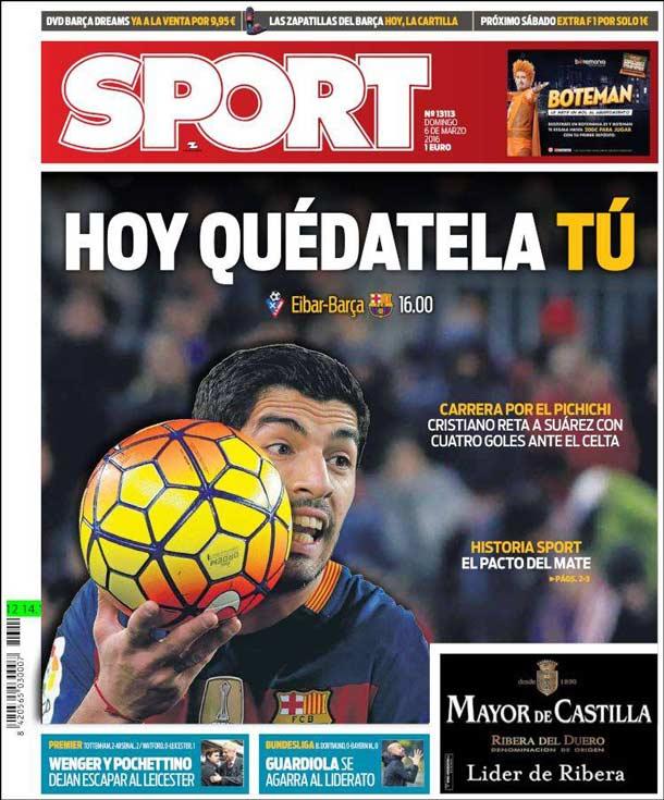 Portada del periódico Sport, domingo 6 de marzo de 2016
