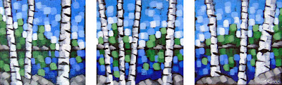 summer sky triptych painting by artist aaron kloss, square painting, pointillism, sivertson gallery