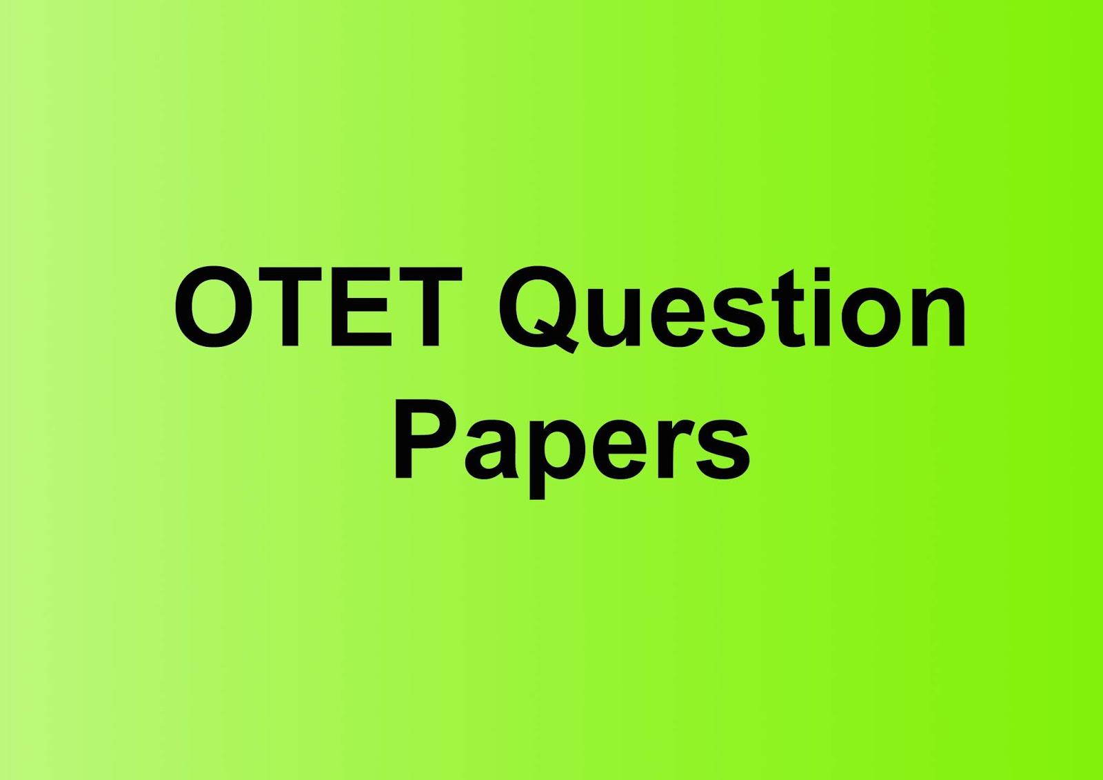 OTET question papers