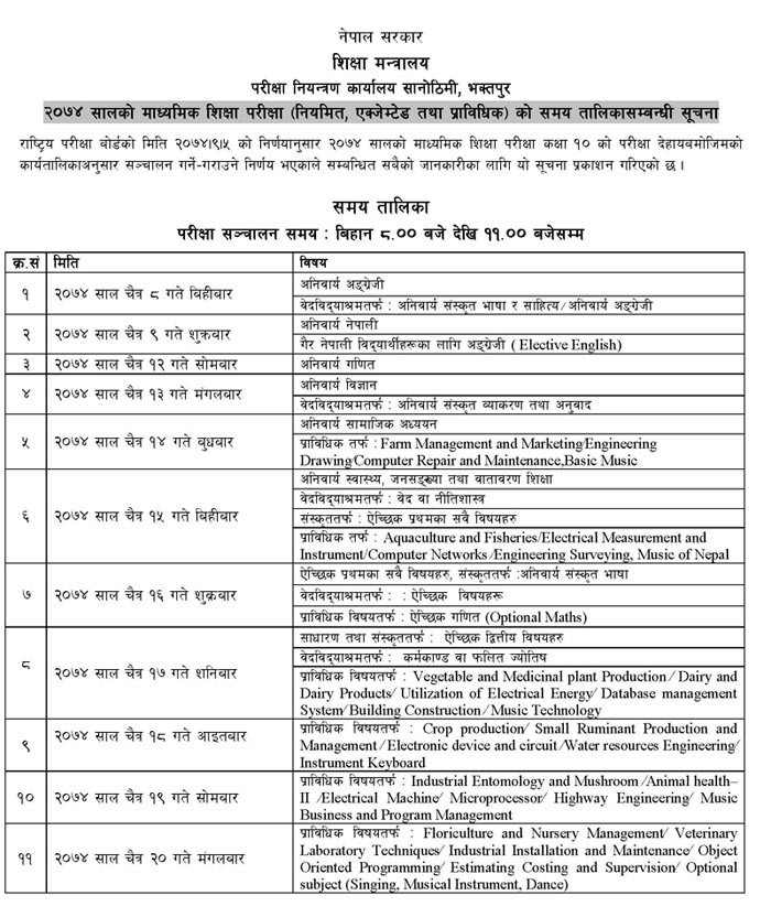 Secondary Education Examination See Exam Routine 2074