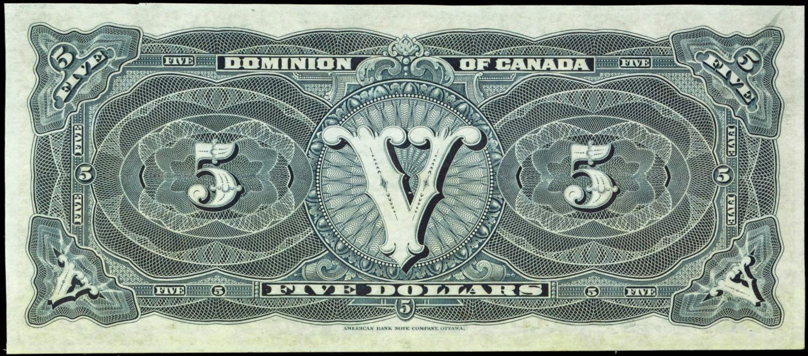 Dominion of Canada 1912 5 Dollar Bill