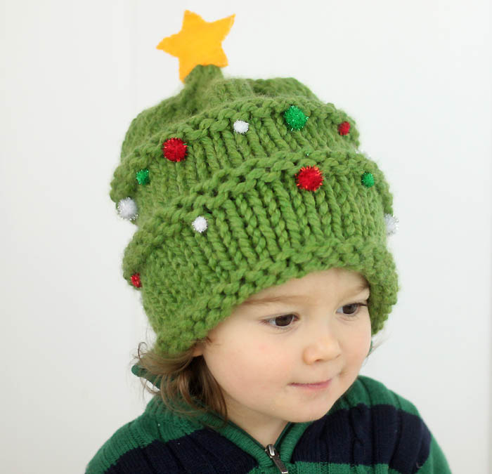 Knitting Pattern Christmas Hat : Baby Christmas Tree Hat Knitting Pattern - Gina Michele