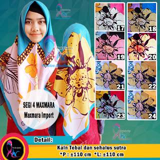 Jilbab segi empat maxmara import motif bunga murah (2)