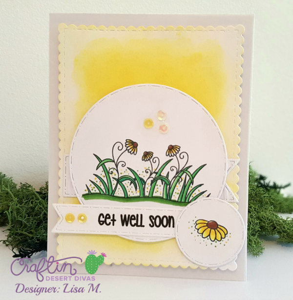 Get Well Soon Card with whimsical yellow flowers and sequins.